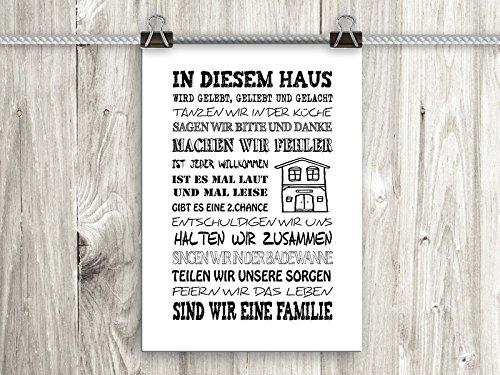 artissimo, Poster mit Spruch, Din A4, PE0043-DR, In diesem Haus, Bild mit Spruch, Spruchbild, Wandbild, Plakat, Kunstdruck, Zitat, Sprüche, Wanddekoration, Typographie, Typografie