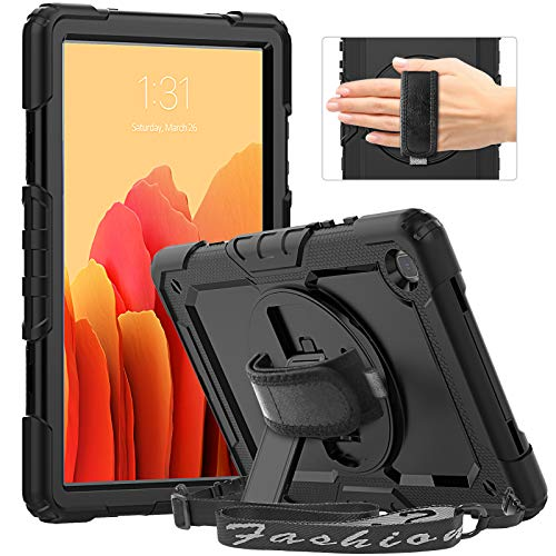 """Timecity Case Compatible with Galaxy Tab A7 10.4"""" 2020/ SM-T500/T505/T507, with Built-in Screen Protector&360 Degree Swivel Stand&Hand Strap&Shoulder Strap Case for SamsungTab A7 10.4 inch 2020-Black"""