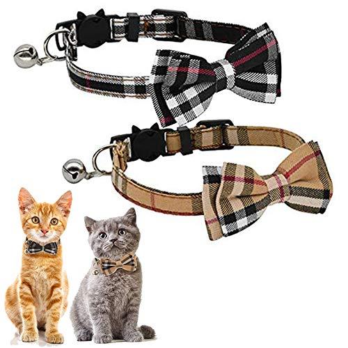 Kingkindshun Sicherheitsschnalle Katzenhalsband,Katzenhalsband mit Schleife Glocke in Schleife Katze, katzenhalsband mit Schleife Kariert,für Kätzchen und Welpen(Schwarz + Braun)