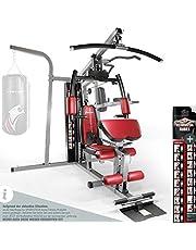 Sportstech Premium 50in1 krachtstation voor EEN allround training | Multifunctionele hometrainer met stepper & Latissimus-stang | HGX fitness homegym van eva materiaal | Robuust voor thuis & boksers -