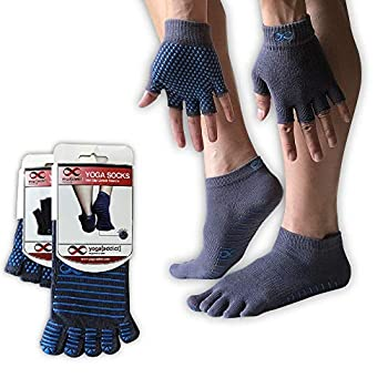YogaAddict Yoga Socks and Gloves Set for Any Type of Yoga and Pilates - Full Toe Socks Grey Blue Grips ,size M/L and Gloves