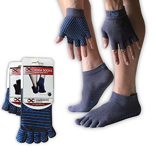 Yoga Pilates Socks Full Toe and Gloves Set, Non Slip Anti Skid, Fitness, Yoga Accessories for Women and Men - Grey(Blue Grips), size S/M