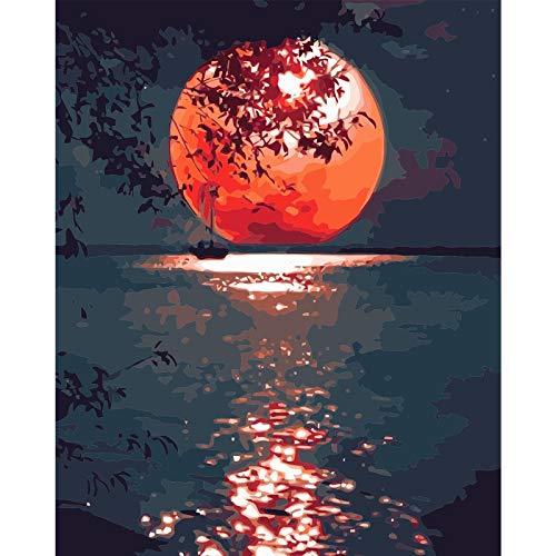 XINRANFF Pintar por numeros para Adultos - Cuadro de Pinturas por numeros con Pinceles y Colores Brillantes - Dibujos Lienzos por numeros,La Luna(Sin Marco 40 * 50cm)