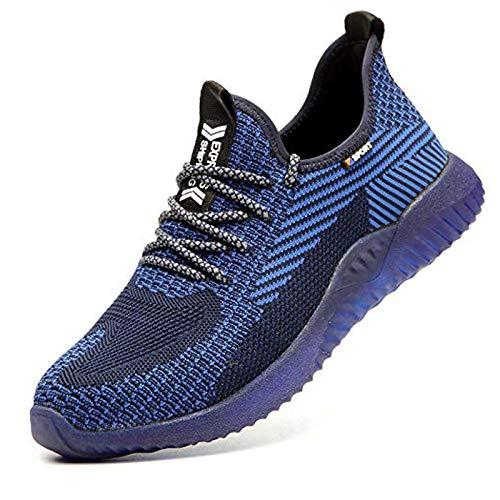 Sicherheitsschuhe Herren Arbeitsschuhe Herren Damen Leicht Stahlkappe Schutz Atmungsaktiv Turnschuhe Mesh Wandern Sportlich Sneaker 35-48 EU