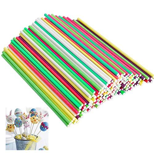 dancepandas Kuchen Pop Stick 500PCS Cake Pop Stiel 10cm Lollipop Sticks Papier Lutscher Stiele für Cupcake,Süßigkeiten,Gelee und Schokolade (Gelb Rot Lila Grün Weiß)