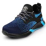 tqgold Zapatos de Seguridad para Hombre Mujer Zapatillas de Trabajo con Punta de Acero Invierno S3 Ligero Transpirable y Antideslizante(Talla 42,Azul)