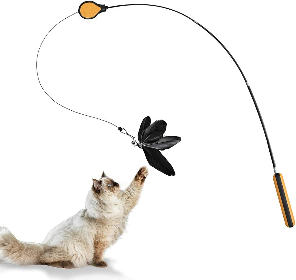 ZEZE Feather Wand Pet Teaser Mail order and Toy Kitten Exerciser Cat Gifts Intera