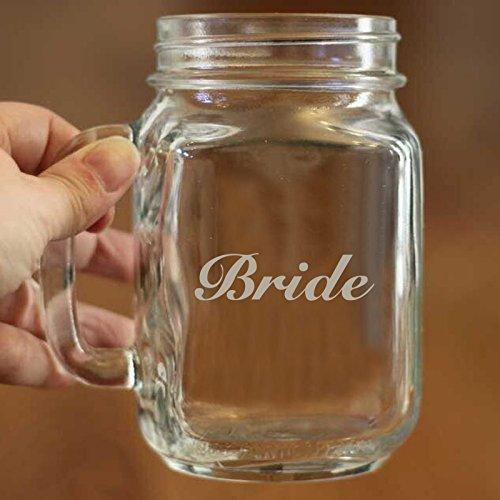 Bride Mason Jar 16oz Taza personalizada boda regalo para el novio y novia hermosa...