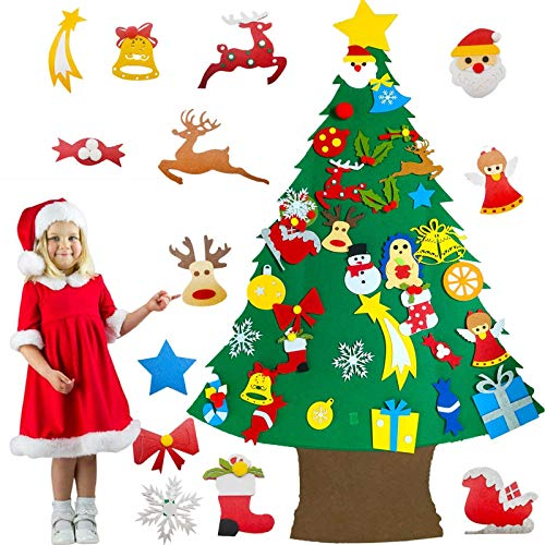 4 Ft TALLER Felt Christmas Tree for Toddlers Kids,34 Pcs Felt Snowman Party Game Favors Detachable Snowflake Ornaments Christmas Tree Wall Hanging Decorations 2020 New Year Holiday Party Game Toy Gift