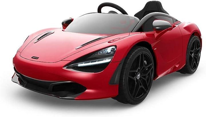 tecnobike auto elettrica per bambini mclaren 720s telecomando 12v mp3 luci led (rossa) b084jk1brv