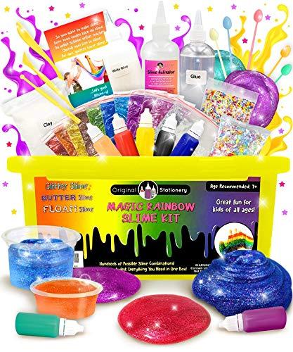 Original Stationery Kit de Slime - Implementos para hacer Slime de Cristal, Alien, Flexible, Brillante, Slime de Unicornio y más - Regalos de Navidad para niñas y niños