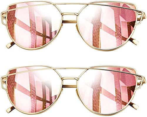 Joopin Gepolariseerde Cat Eye Zonnebril voor Dames - Metalen Frame Dames Zonnebril Met Platte Lens
