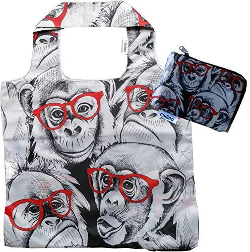 Chilino Faltbare Einkaufstasche, groß und stabil, umweltfreundlich, 100% Polyester, Gorilla, grau, 47x41
