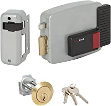 CISA 111610602 11610-60-2 elektrisch slot, bevestiging van de cilinder, gescheiden links, 12 V, gelakt, grijs aluminium, i...