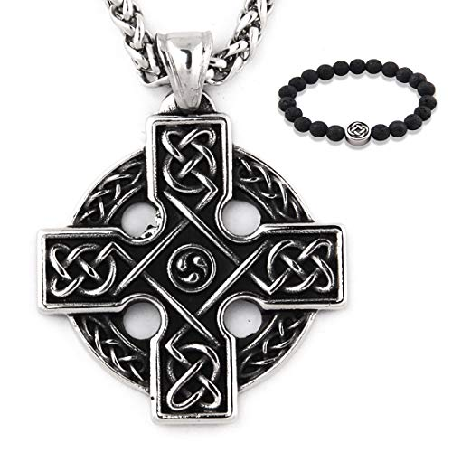 GUNGNEER Stainless Steel Interwoven Celtic Eternity Circle Knot Pendant Necklace Love Infinity Jewelry Men Women