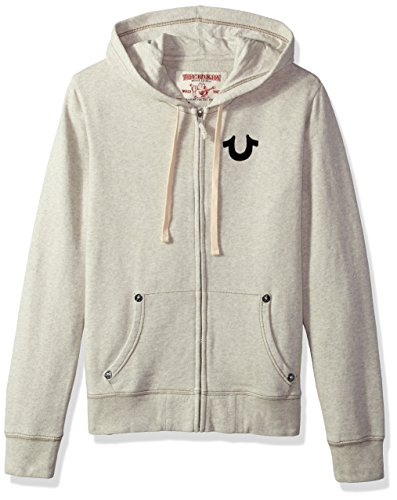 True Religion Men's Buddha Logo Zip Hoodie, Oatmeal, S