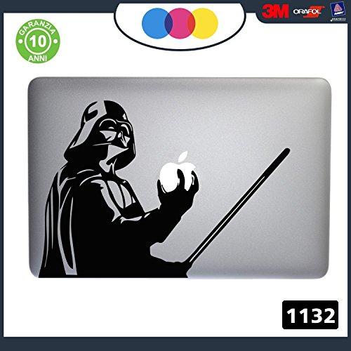Adhesivo de Star Wars - Darth Vader– Pegatina para todos los modelos de Mac Book de Apple entre 15y17 pulgadas, apto también para cualquier ordenador PC–Color Negro, Cód.1132