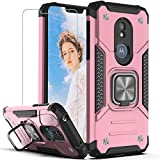 Moto G7 Power Case, Moto G7 Supra Case with HD Screen Protector,YmhxcY Armor Grade Cases with Rotating Holder Kickstand Non-Slip Hybrid Rugged Phone Case for Motorola G7 Power-KK Rose Gold
