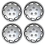 Tuningpros WC3-15-807-S - Pack of 4 Hubcaps - 15-Inches Style Snap-On (Pop-On) Type Metallic Silver Wheel Covers Hub-caps
