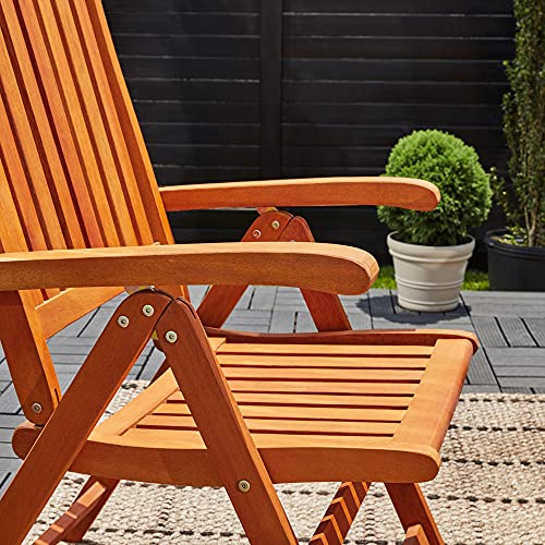 Casaria Sitzgruppe Vanamo 6+1 FSC®-zertifiziertes Eukalyptusholz klappbar 7-TLG Tisch Sitzgarnitur Holz Gartenmöbel Garten Set - 5