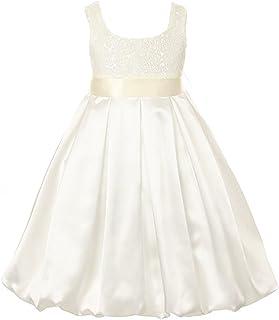 Kids Dream Big Girls Ivory Sequined Satin Bubble Christmas Dress 8