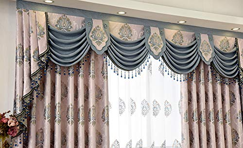Gxi Customized European Curtain Valance Swag Beaded Jacquard Blackout Curtain Luxury Curtain Drapes Rod Pocket Top Window Treatments Tier for Living Room 1 Panel W118 Inch