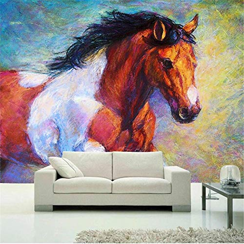 JIYOTTF Mural 3D Papel tapiz fotográfico Decoración de dormitorio infantilcreatividad pintura color animal corcel(W 300 x H 210cm) Papel pintado mural impermeable autoadhesivo moderno 3D pegatina de