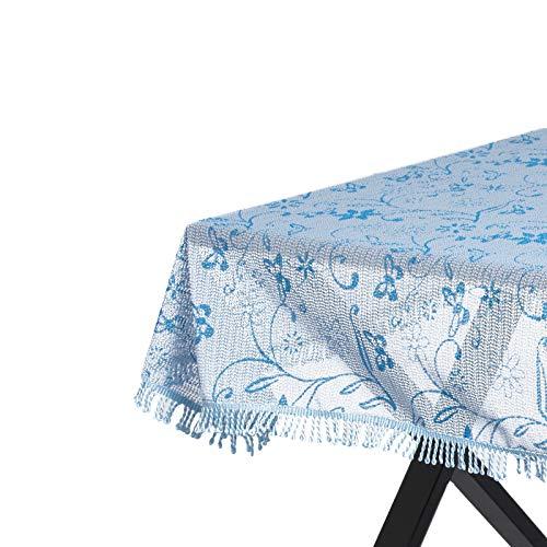 WOLTU Gartentischdecke Weichschaum Tischdecke mit Quaste geschäumt 3D Druck Wetterfest Witterungsbeständig rutschfest Outdoor eckig 130x160 cm Hellblau Bedruckt