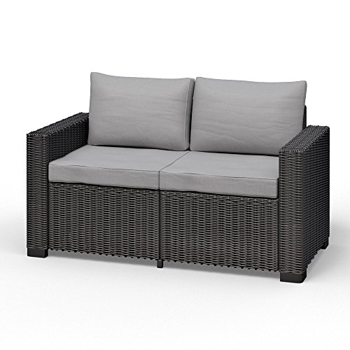 Koll Living 2-Sitzer San Diego in anthrazit, passend für Loungesets, Möbelsets und Gartenmöbel in offener Rattanoptik, extra Dicke Sitz- und Rückenkissen, 116 cm Sitzbreite