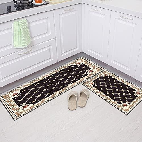 Estilo geométrico Moderno Cocina Absorbente Antideslizante Hogar Alfombra Resistente a la Suciedad Dormitorio Baño Alfombrilla A4 40x60cm + 40x120cm
