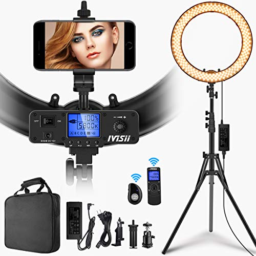 Ivisii 19 Inch Adjustable Ring Light, Bluetooth, Remote, Stand, Case