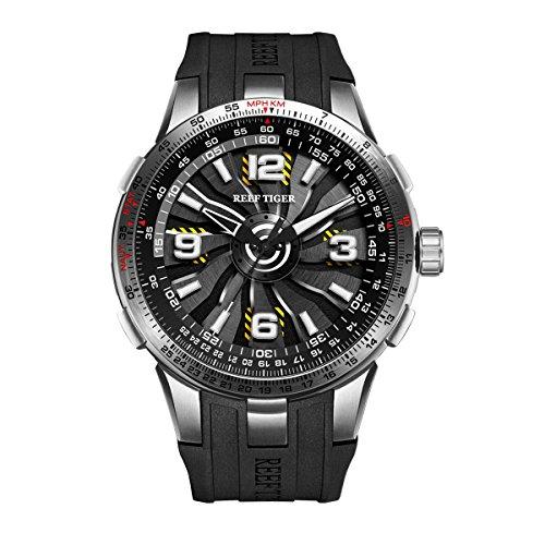 REEF TIGER Herren Uhr analog Automatik mit Kautschuk Armband RGA3059-YBB