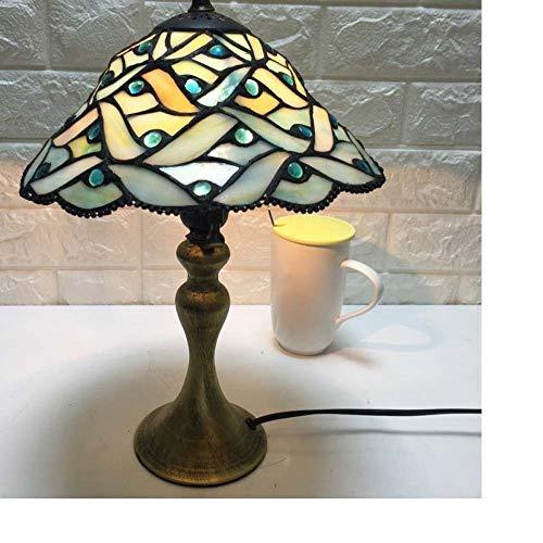 Waniyin Lámpara De Mesa De La Sala De Estar del LED Vidrieras Personalizadas Estudio De Dormitorio Minimalista Moderno 10 Pulgadas Lámpara De Mesa De Cristal De Color De Iluminación E27