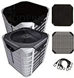 MODERN WAVE - 2 (Two) Central Air Conditioner Covers for Outside Units 32 x 32 - Top Universal mesh and Winter Waterproof Outdoor AC Defender Set (32' x 32')