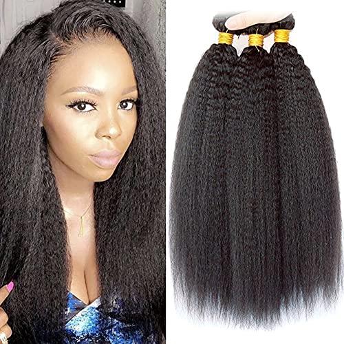 Ladiary Brazilian Hair Bundle Kinky Straight Human Hair 3 Bundles Yaki...