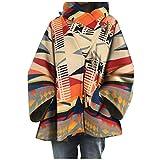 SPE969 Retro Hooded Coat Women's Aztec Print Claw Button Loose Faux Woolen Jacket,Multicolor,XL