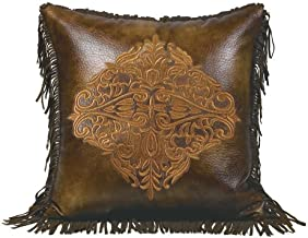 HiEnd Accents Austin Embroidered Western Faux Leather Pillow, 1'6 x 1'6 - WS4068P2