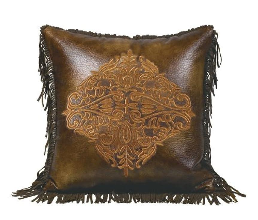 一貫性のない外側満州HiEnd Accents Austin Embroidered Faux Leather Pillow