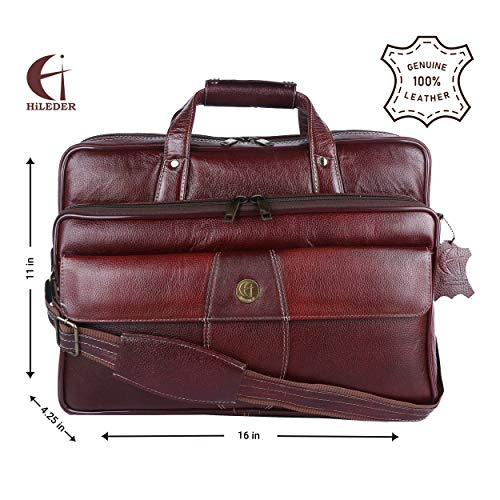 Hileder pure NDM Leather Satchel Laptop Messenger Bag (15.5-inch, Deep Brown)