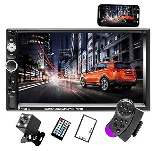 Camecho Doppel Din Auto Radio Audio Bluetooth Touch MP5 Player USB FM Android Telefon Spiegel Link Entertainment Multimedia Stereo + 4 LED Mini Rückfahrkamera mit Lenkradfernbedienung