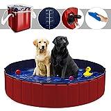 YAOBLUESEA Hunde Planschbecken, 160x30CM PVC Hundepool Doggy Pool Faltbarer Badewanne Pool-Groß/Rot