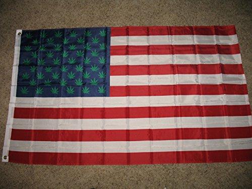 Ant Enterprises 3x5 Marijuana Green Stars Weed USA Pot Flag 3'x5' Banner Brass Grommets