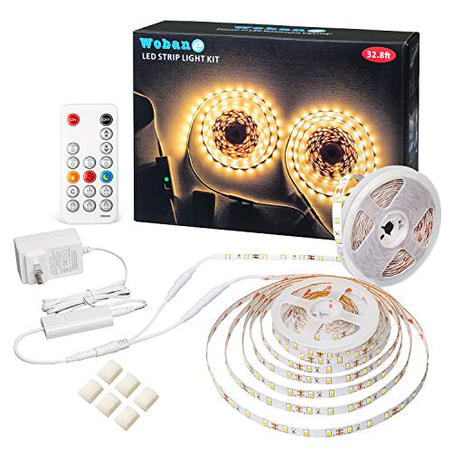 LED Strip Lights 32.8ft Warm White, WOBANE Dimmable Light Strip Kit with Remote and UL Listed Power Supply, 600 LEDs Supper Bright Tape Lights for Room, Kitchen, Bed, Under Cabinet, Wardrobe, 3000K