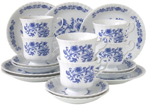Creatable, 11695, Serie Ivona Zwiebelmuster, 18 teilig Kaffeeservice, Porzellan, Mehrfarbig, 34 x 24 x 30 cm, Einheiten