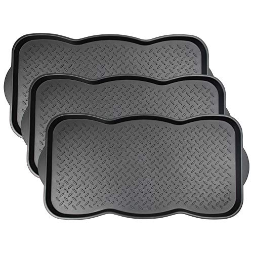 Fasmov 3 Pack Friendly Utility Boot Tray Mat Multi-Purpose Anti-Slip Tray Mat Boots, Dog Food Bowls, Gardening, Laundry, Kitchen, Garage, Entryway, 29.5