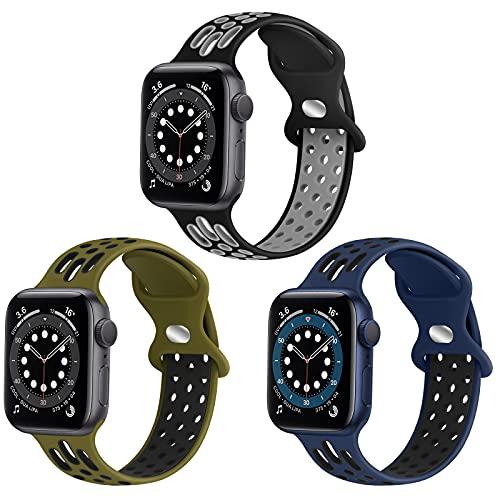 WNIPH Cinturino sportivo in silicone compatibile con Apple Watch, 38 mm, 40 mm, 42 mm, 44 mm, in morbido silicone, per Apple Watch SE iWatch Series 6 5 4 3 2 1