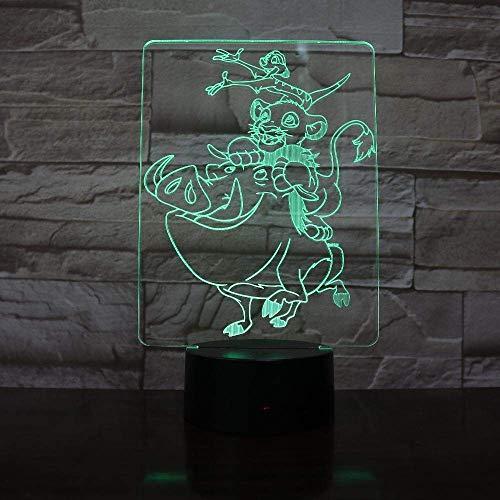 Roi Simba Décoré Enfants 3D Led Lumière De Nuit Pour Enfants Usb Alimenté 7 Couleurs Tactile Télécommande Lampe De Bureau Cadeau D'Anniversaire De Noël