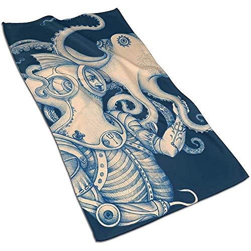 Snbin Octopus Ocean Animal Microfiber Toallas de Mano Toallas Toallas de Secado rápido Toallas Deportivas (40x70cm) Uso para Viajes, Fitness, Yoga