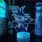 Lámpara de ilusión 3D Luz de noche LED Dragon Ball Z Goku Ultra Instinto Battle...