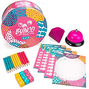 Bunco  A Very Social Game - 12-Player Party Dice Game Includes Dice Scorecards Pencils Bell & Squishy Traveling Jewel - Family Game Night Board Games Party Supplies & Fun Activities